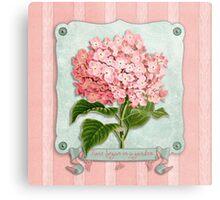 Pink Hydrangea Green Ribbon Striped Paper Cutouts Metal Print