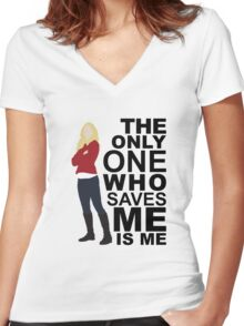 Emma Swan - Only One Who Saves ME Women's Fitted V-Neck T-Shirt