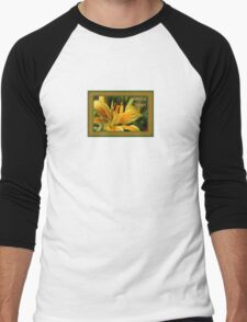 Birthday Wishes Greeting Card With A Yellow Lily Men's Baseball ¾ T-Shirt
