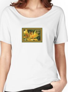 Birthday Wishes Greeting Card With A Yellow Lily Women's Relaxed Fit T-Shirt