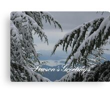 Pine Trees and Snow Season's Greetings From Fethiye Canvas Print