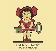 The key to my heart, love, retro vintage cute toddler by aapshop
