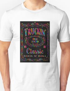 BLACK BOTTLE LABEL - truckin' (bright psychedelic) T-Shirt