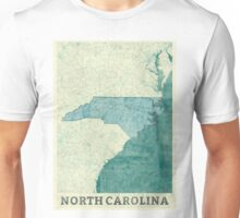 North Carolina State Map Blue Vintage Unisex T-Shirt