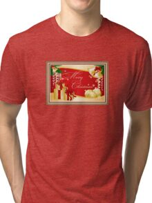 Merry Christmas Greeting With Gifts Bows And Ornaments Tri-blend T-Shirt
