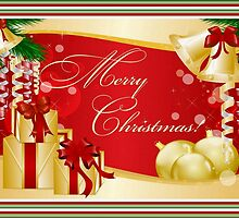 Merry Christmas Greeting With Gifts Bows And Ornaments by taiche