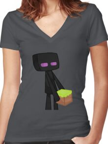 Enderman Minecraft Women's Fitted V-Neck T-Shirt