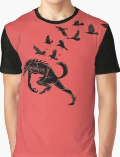 Werewolf Running from Ravens Graphic T-Shirt