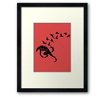 Werewolf Running from Ravens Framed Print