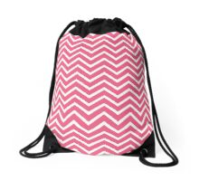 Pink and white zigzags Drawstring Bag