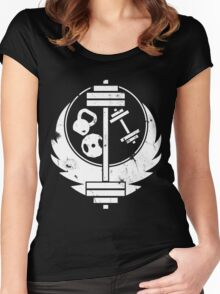 Brotherhood of steel(gym edition, white and aged) Women's Fitted Scoop T-Shirt