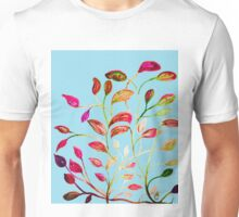 Red and Green Leaves on Light Blue Unisex T-Shirt