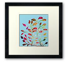 Red and Green Leaves on Light Blue Framed Print