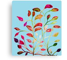 Red and Green Leaves on Light Blue Canvas Print