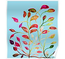 Red and Green Leaves on Light Blue Poster