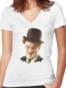 Charlie Chaplin Women's Fitted V-Neck T-Shirt