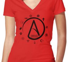 Atheist:   2000 Religions, and only YOURS is TRUE?? Women's Fitted V-Neck T-Shirt