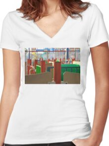 Colored Lines Women's Fitted V-Neck T-Shirt