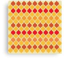 Red Yellow Exotic Moroccan Style Tiled Quatrefoil Pattern Canvas Print