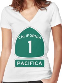 PCH - CA Highway 1 - Pacifica Women's Fitted V-Neck T-Shirt