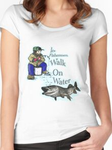 Ice fishing muskie  Women's Fitted Scoop T-Shirt