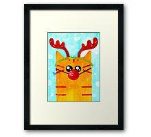 Christmas Red Cat Deer Framed Print