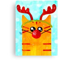 Christmas Red Cat Deer Canvas Print