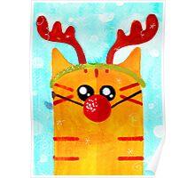Christmas Red Cat Deer Poster