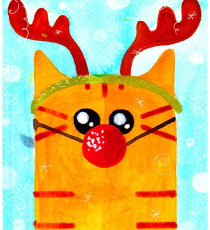 Christmas Red Cat Deer Sticker