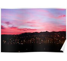 Red sunset night landscape Poster