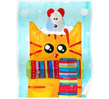 Christmas Red Cat with Mouse Poster