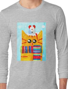 Christmas Red Cat with Mouse Long Sleeve T-Shirt