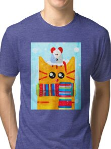 Christmas Red Cat with Mouse Tri-blend T-Shirt
