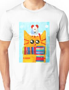 Christmas Red Cat with Mouse Unisex T-Shirt