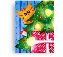 Christmas Red Cat with Mouse and Christmas Tree Canvas Print