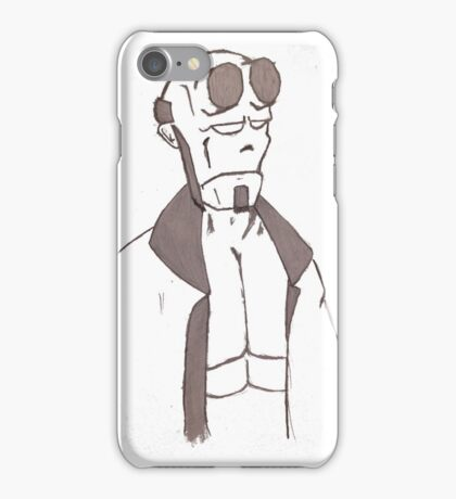 hellboy sketch hand drawing  black and white  iPhone Case/Skin