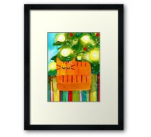 Christmas Red Cat with Christmas Tree Framed Print