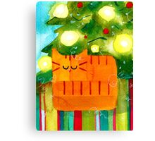 Christmas Red Cat with Christmas Tree Canvas Print