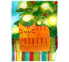 Christmas Red Cat with Christmas Tree Poster
