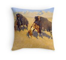 Indians Simulating Buffalo by Frederic Remington (1908) Throw Pillow