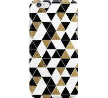 Modern Black, White, and Faux Gold Triangles iPhone Case/Skin