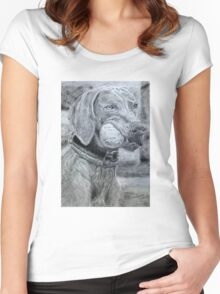 Dog with Ball Graphite Women's Fitted Scoop T-Shirt
