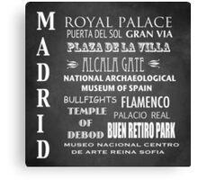Madrid Famous Landmarks Canvas Print