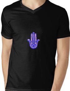 hamsa hand pink and blue Mens V-Neck T-Shirt