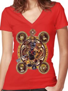 Kingdom Hearts Sora stained glass Women's Fitted V-Neck T-Shirt