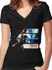 Kingdom Hearts multi-character Women's Fitted V-Neck T-Shirt