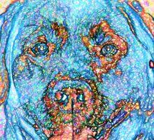 Abstract Blue Orange Labrador Retriever Sticker