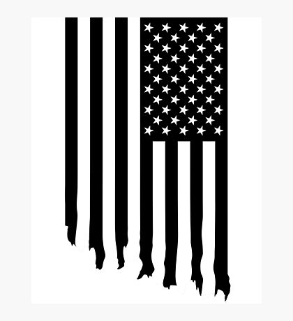 Black and white american flag - dripping Photographic Print