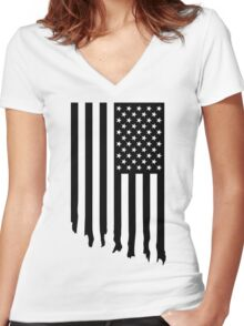 Black and white american flag - dripping Women's Fitted V-Neck T-Shirt