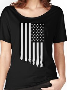 Black and white american flag - dripping Women's Relaxed Fit T-Shirt
